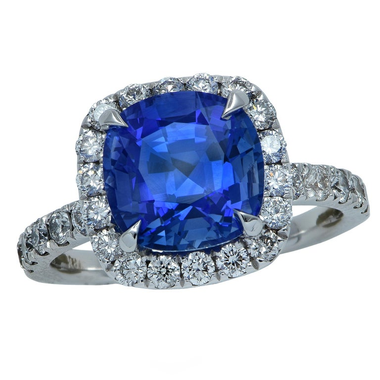 3.18 Carat Ceylon Blue Sapphire and Diamond Ring For Sale