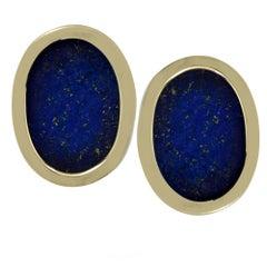 14 Karat Yellow Gold and Lapis Lazuli Cufflinks