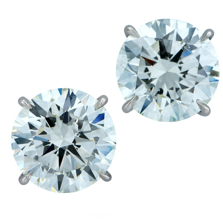 6.06 Carat Round Brilliant Cut Diamond Stud Earrings