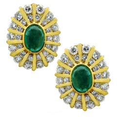 Diamond Emerald and Yellow Gold Earrings