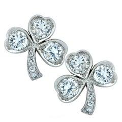 Diamond and Platinum Clover Stud Earrings