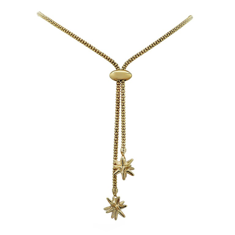 Adjustable Yellow Gold Lariat Necklace