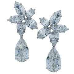 11.60 Carat Diamond and Platinum Earrings