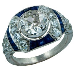 Modern Art Deco Style 1.71 Carat Old European Diamond Ring