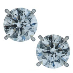 3.14 Carat GIA Certified Round Brilliant Diamond Stud Earrings