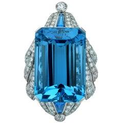 Exceptional 135 Carat Santa Maria Aquamarine and Old European Diamond Brooch