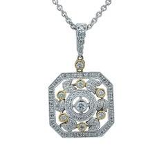 .60 Carat Round Brilliant Cut Diamond Two-Tone Gold Necklace