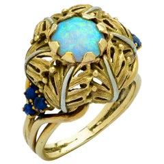 Italian Opal and Sapphire Fern Bloom Ring