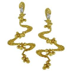 Modernist Nugget Diamond Dangle Earrings