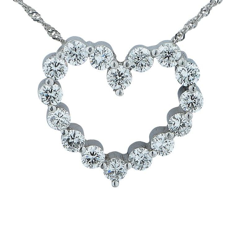 1 Carat Diamond Heart Platinum Necklace