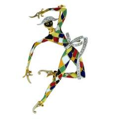 Dancing Masquerade Jester Enamel Brooch Pin
