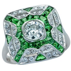 Art Deco Style Diamond and Tsavorite Garnet Ring