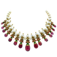 Diamond, Amethyst, Peal and Enamel 22 Karat Bib Necklace