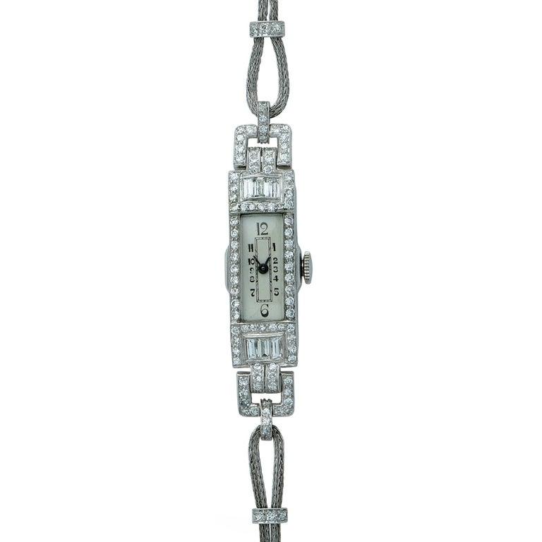Art Deco Ladies 2 Carat Diamond Wristwatch