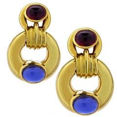 Contemporary Amethyst and Garnet Dangle Earrings