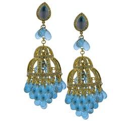 Topaz and Diamond Chandelier Earrings