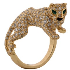 Panthere De Cartier Diamond and Yellow Gold Ring