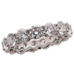 6.12 Carat Round Brilliant Cut Diamond Eternity Band Ring