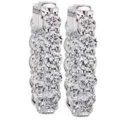 10.73 Carat Diamond Hoop Earrings
