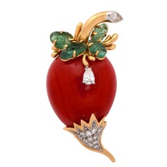 Coral, Emerald and Diamond Brooch Pin