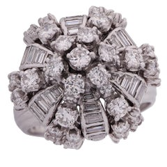 4.5 Carat Diamond and Platinum Bombe Ring