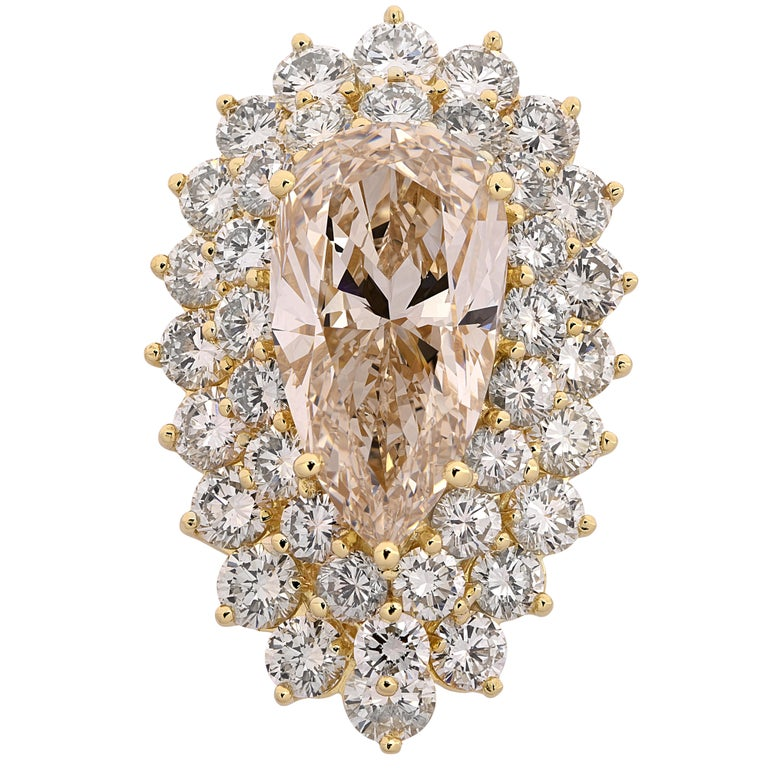 11.72 Carat Pear Shape Diamond Ring For Sale