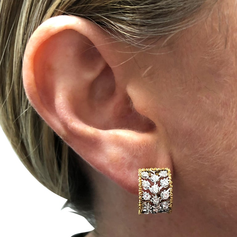 Round Cut Buccellati Ramage Collection Diamond Huggie Earrings For Sale