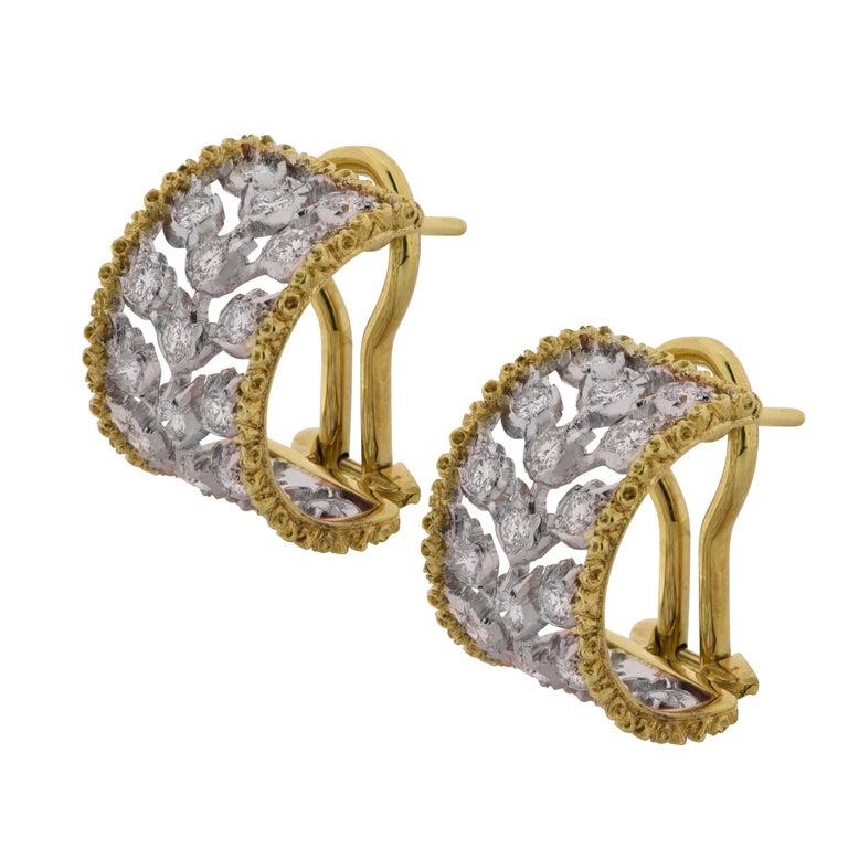 Modern Buccellati Ramage Collection Diamond Huggie Earrings For Sale