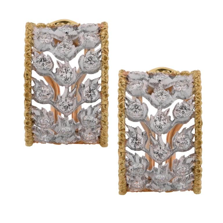 Buccellati Ramage Collection Diamond Huggie Earrings For Sale