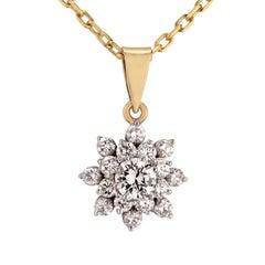 1 Karat Diamant Schneeflocken-Halskette