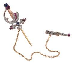 Victorian Diamond, Ruby and Sapphire Sword Brooch
