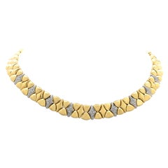 Diamond 18 Karat Two-Tone Gold Collar Necklace