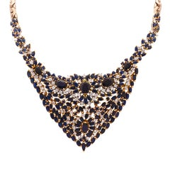 Diamond and Sapphire Bib Necklace