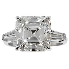 7.15 Carat GIA Cert Square Emerald Cut  Diamond Ring