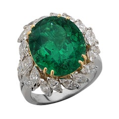 Vivid Diamonds AGL Certified 1.02 Carat Colombian Emerald and Diamond Ring