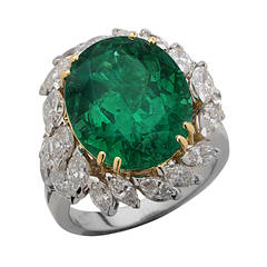 11.02 Carat AGL Certified Colombian Emerald and Diamond Ring