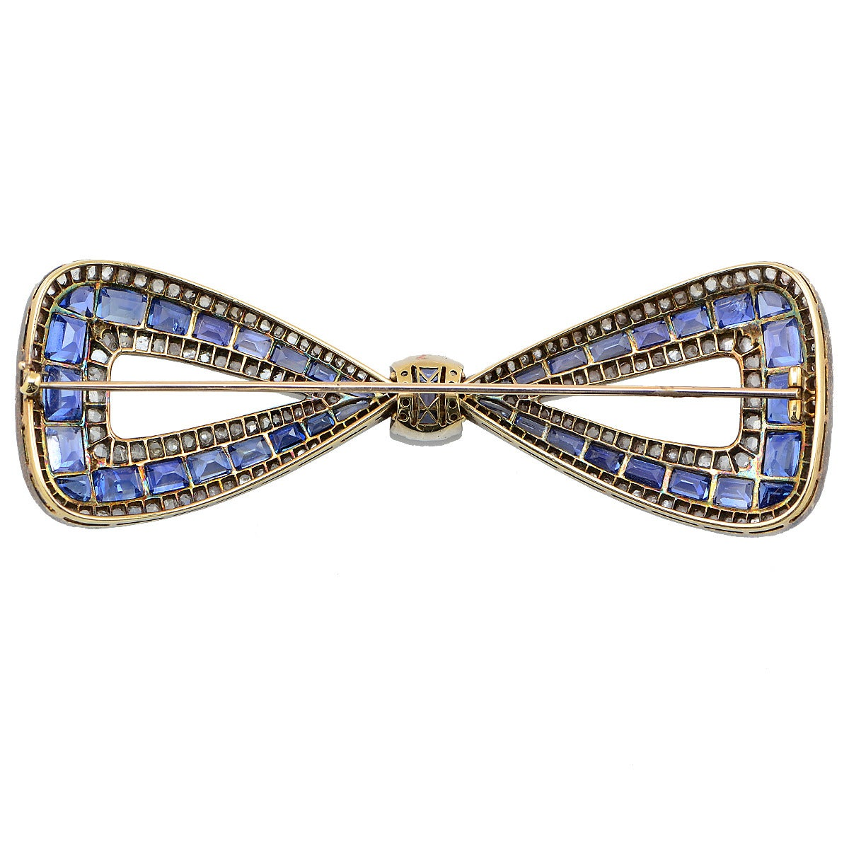 Delightful Antique 30 Carats Sapphires Diamond silver gold Bow Pin In Excellent Condition For Sale In Miami, FL