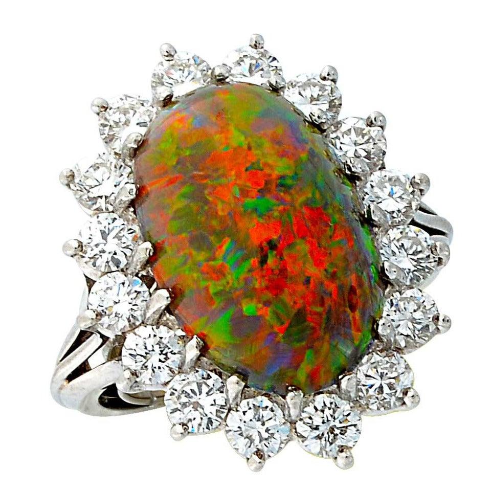 6.79 Carat Black Opal Cabochon Diamond Platinum Ring