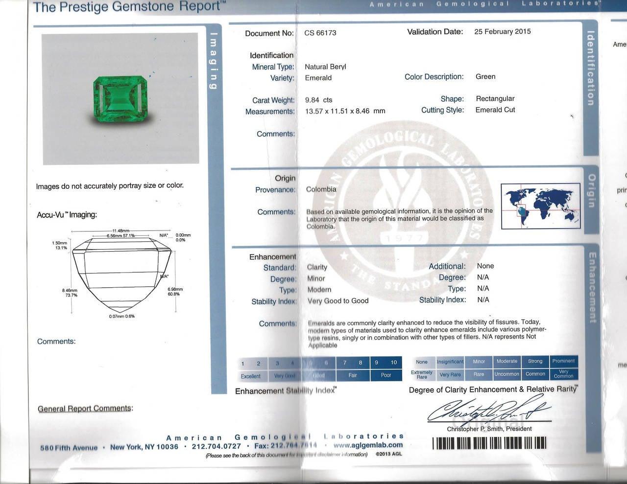 Emerald Cut 9.84 Carat Emerald Diamond Platinum Three-Stone Ring For Sale