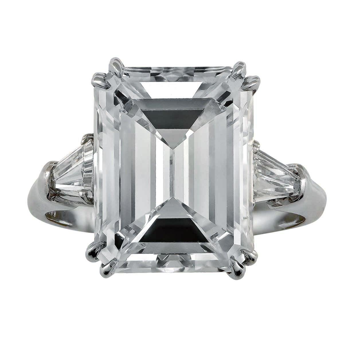 Harry Winston 6.77 Carat  Emerald Cut Diamond Platinum Ring 1