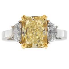 3.06 Carat GIA Cert Fancy Light Yellow Diamond Gold Platinum Ring