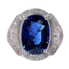 7.02 Carat GIA Cert Sapphire Diamond Platinum Ring
