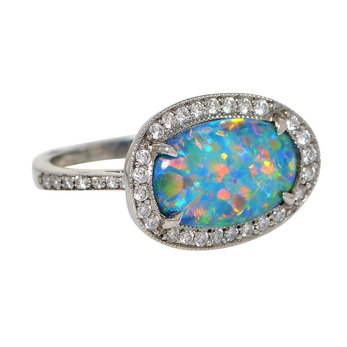 2 77 carat opal platinum ring for sale at 1stdibs