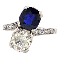 Art Deco 1.81 Carat Diamond and Sapphire Platinum Ring