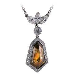 6.10 Carat GIA Cert Fancy Color Diamond Platinum Drop Necklace