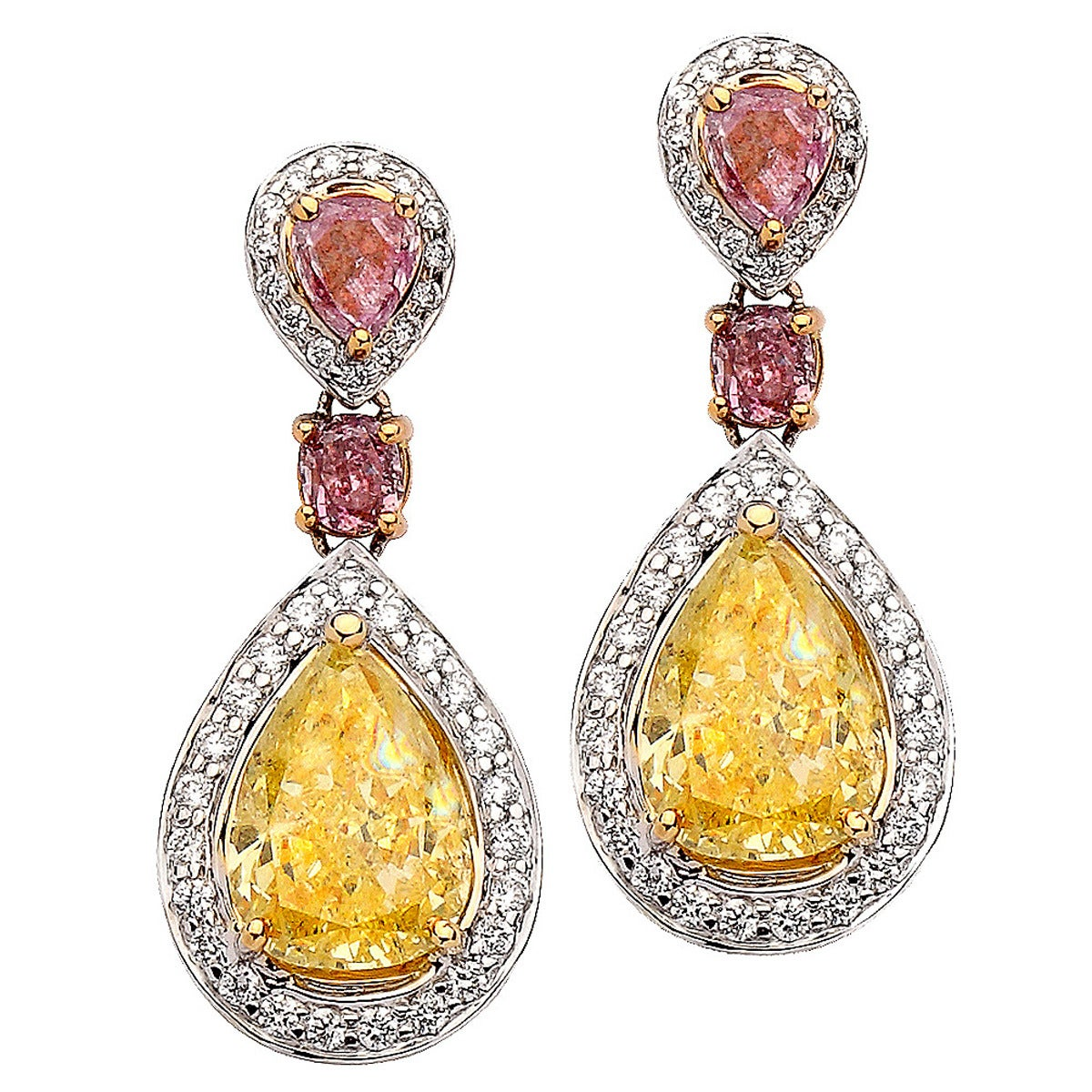 3.17 Carat GIA Certified Diamond Gold Earrings For Sale