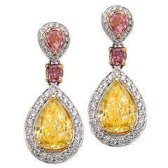 3.17 Carat GIA Certified Diamond Gold Earrings