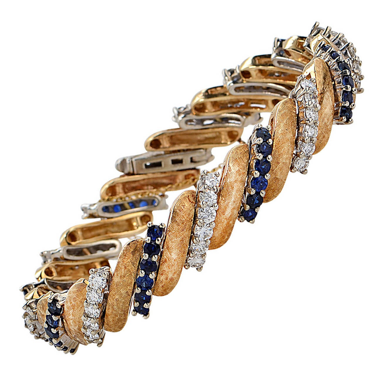 Elegant 18k Yellow Gold Sapphire and Diamond Bracelet