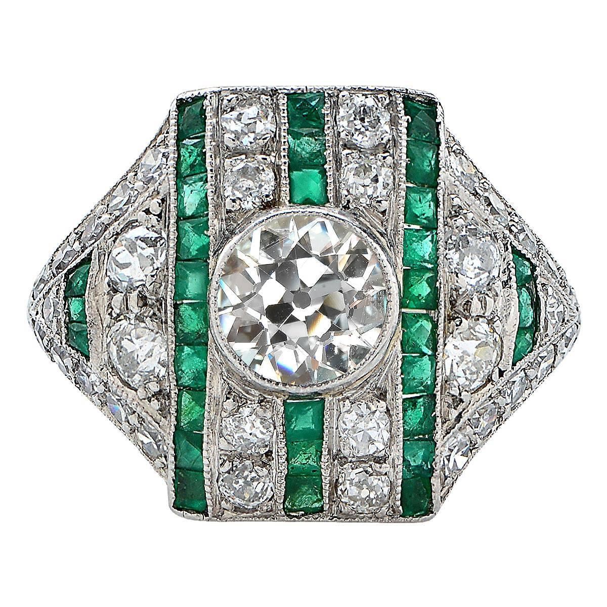 Unique Original Art Deco emerald Diamond Platinum Ring at 1stdibs