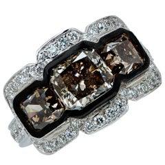 4.74 Carat Fancy Color Diamond Gold Three Stone Ring